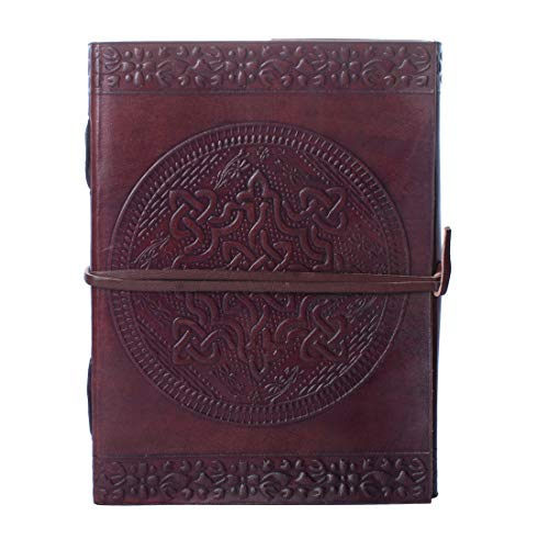 Dios Leather Journal, Dark Brown Celtic Round Antique Handmade Daily Notepad for Men & Women, Best Gift for Art Sketchbook, Travel Diary & Notebook (7.20 X 5 Inches)