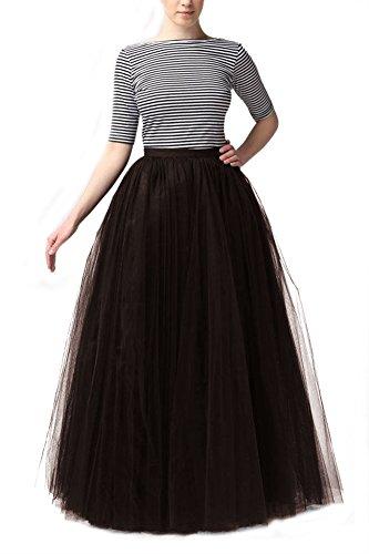 Bridal_Mall Mujer Longitud de la falda de tul suave y esponjosa Maxi enaguas de la enagua de tul completa Café oscuro