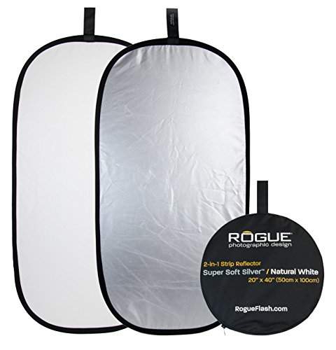 Rogue Photographic Design 2-in-1 Collapsible Reflector 20 x 40, Super Soft Silver/Natural White (ROGUE2040SW)