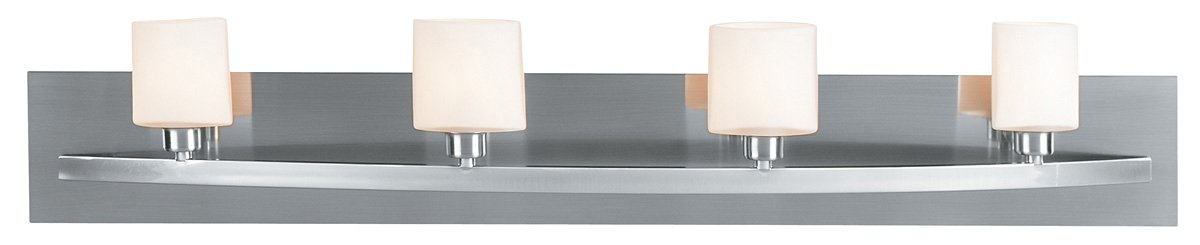 Brushed Steel / Opal Four Light Up Lighting 36In. Wide Bathroom Fixture From The Cosmos Collection