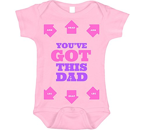 Graphic Onesie - Bebe Bottle Sling Dad You Got This Dressing Directions, Baby Girl Outfit, Funny Girl Outfit, 3-6 m