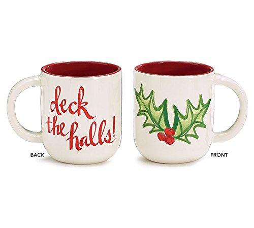 Burton and Burton Deck the Halls Holly Leaf Ceramic Coffee Mug, 16 oz.