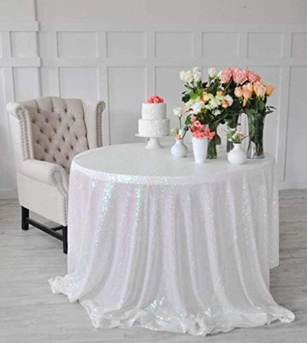 Sequins Table Cloth 48 Inch Iridescent Round Tablecloth Elegant Tablecloth ~N10.26
