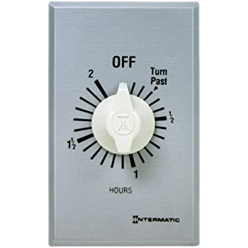 Intermatic FF2H 2-Hour Spring Loaded Wall Timer, Brushed Metal