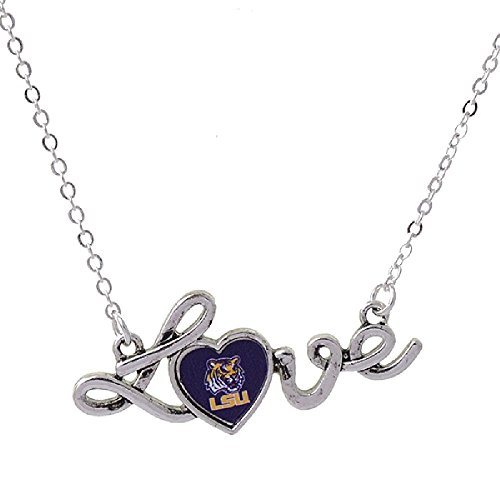 (Louisiana State University NCAA Necklace LOVE script with LSU Tiger Logo in the Heart)