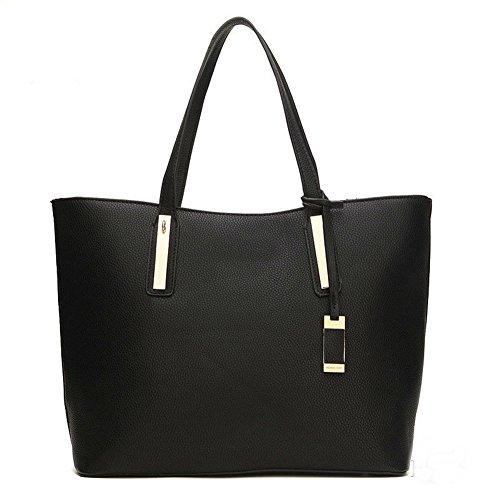 LMJ Europa de piel nuevo bolso de rayas de litchi de moda mujer bolsas de hombro Tote Bolsas Monedero Bolsa de la compra Blanco - negro
