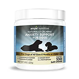 Naturally Calming Dog Anxiety Support Chews - 100 Soft Chews - All Natural - Gentle Calming Treats for Dogs - Have More Fun with Your Pup - Relieve Dog Separation Anxiety and Enhance Dog Calming
