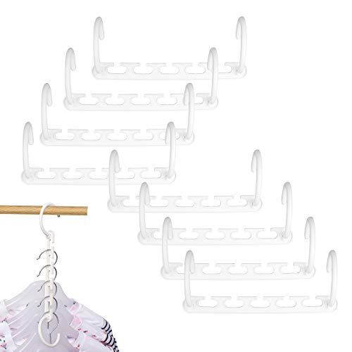 IUNIQEE Space Saver Hangers, 8 Pack Space Saving Hangers White Space Saver Effortless Wrinkle-Free Clothes Plastic Hanger Organizer Magical Cascading Hangers for Closet Or Wardrobe