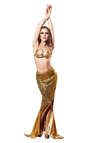 YiYiFS EU931-Luxurious Mermaid Dress Gogo Sexy sequins sexy lingerie bra costumes (Disney Belle Costumes Custom)