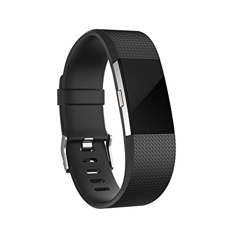 For Fitbit Charge 2 Bands, Adjustable Replacement Bands with Metal Clasp for Fitbit Charge 2 Wristbands Classic Edition Black - Black With 2