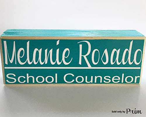 Prim and Proper Decor Desk Name 10x4 (Choose Color) Stand Alone Business Name Title Teacher Nurse Counselor Manager Employment Name Plate Desk Office Custom Wood Block