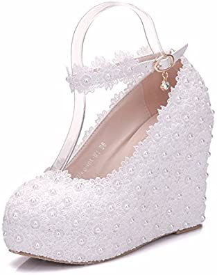 White Lace Wedding Shoes Wedges Heels