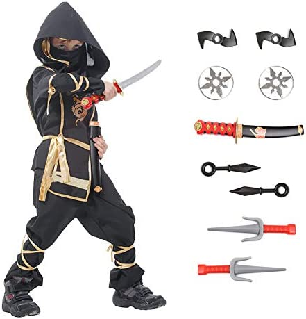 Ninja Halloween Costume for Boys with Included Accessories for Child Dress up Best Gifts