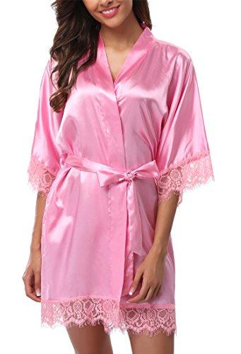 Giova Women's Lace Trim Kimono Robe Nightwear Nightgown Sleepwear Satin Short Robe Pink Small ()