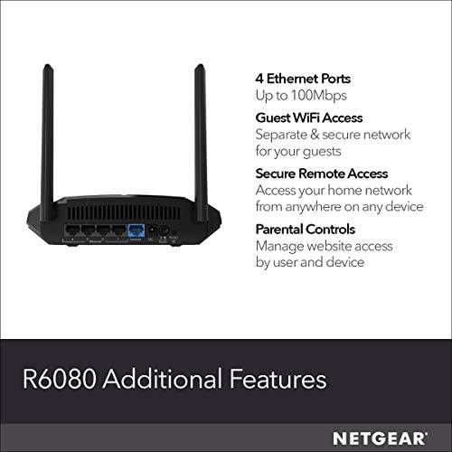 NETGEAR WiFi Router (R6080) - AC1000 Dual Band Wireless Speed (as much as 1000 Mbps) | Up to 1000 sq feet Coverage & 15 gadgets | 4 x 10/100 Fast Ethernet ports