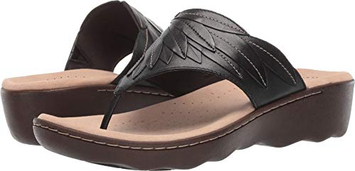 CLARKS Women's Phebe Pearl Flip-Flop Black Leather 070 M US