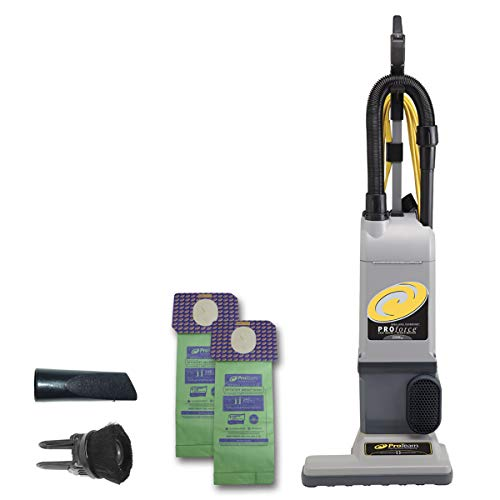 - ProTeam ProForce 1500XP Bagged Upright Vacuum Cleaner with HEPA Media Filtration, Commercial Upright Vacuum with On-Board Tools, Corded