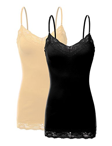 RT1004 Pack Ladies Adjustable Spaghetti Strap Lace Tunic Camisole 2Pack-BLK/Taupe - 4 Way Cami