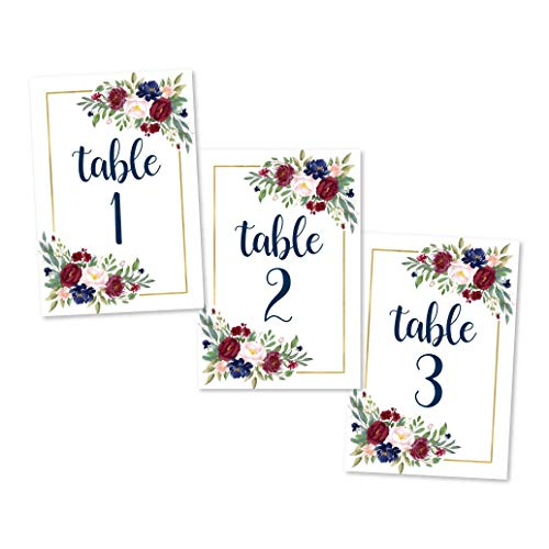 1-25 Burgundy Floral Table Number Double Sided Signs For Wedding Reception, Restaurant Birthday Party Set Calligraphy Printed Numbered Card Centerpiece Decoration Setting Reusable Frame Stand 4x6 Size ()