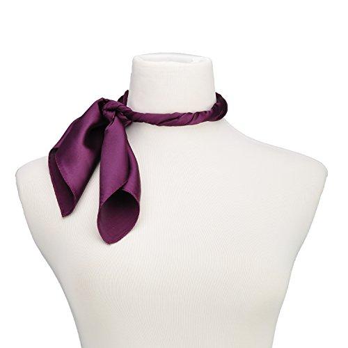 Mini Square Neck - RongShi Silk Square Scarf Women's Fashion Scarves Lightweight Small Solid Color 22 In (Dark Purple)