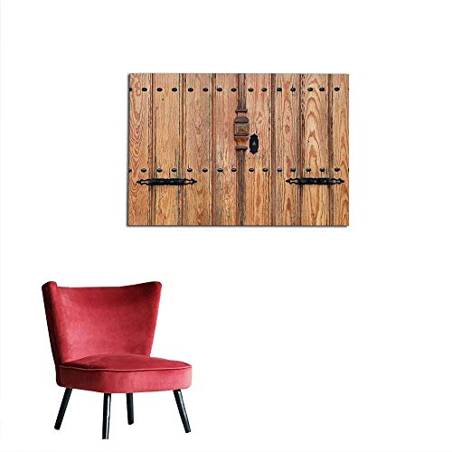 kungfu Decoration Wallpaper Rustic,Wooden Door with Iron Style Padlock Gate Exit Enclosed Space of Building Picture,Pale Brown Custom Poster W47.2 x L31.5 ()
