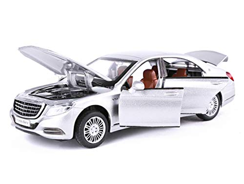 GYZS-TOY Mercedes-Benz Maybach S600 Sedan Car Model Simulation Alloy Toy Car Pull Back Children Car Toy (Color : Silver) -