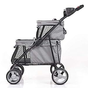 Pet stroller Double Pet Stroller,Foldable 4-Wheel Pet Stroller, Pet Stroller,Outdoor Travel Pet Stroller,Pet Supplies (Color : Grey)