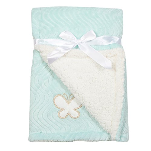Mini Muffin Baby Girl Teal Butterfly Wave Blanket on Keepsake (Baby Blue Butterfly)