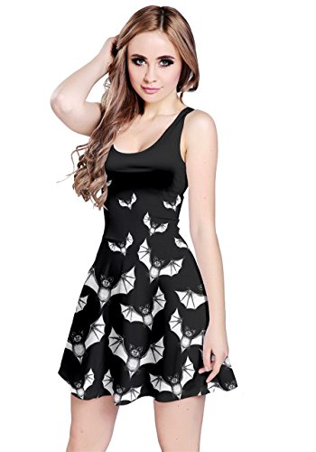 CowCow Womens Flying Bats Black Black Sleeveless Dress, Black - M ()