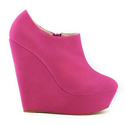 ZriEy Women's Fashion Closed Toe Zipper Faux Suede Wedge High Heel Boot Booties Velvet Rose Size 8 UK 6BBVfp
