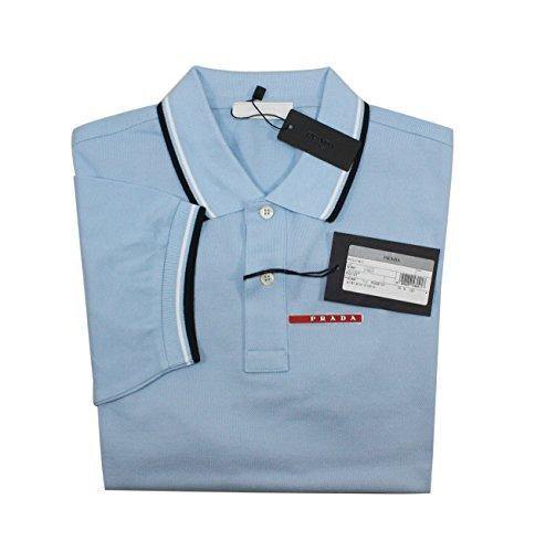 Prada Men's Cotton Piqué Short Sleeve Slim Fit Polo Shirt, Sky-Blue (Cielo) (X-Large) by Prada (Image #1)
