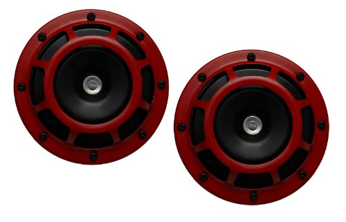 DUAL Super Tone LOUD Blast 139Db Universal Euro RED ROUND HORNS (Quantity 2) High Tone / Low Tone Twin Horn Kit with Bracket Pair Compact – Extremely LOUD for Car Bike Motorcycle Truck for Nissan Infiniti Datsun Altima Maxima Sentra SE-R Spec-V Primera 200SX SER 240SX S13 S14 S15 300ZX 240Z 260Z 260ZX 280Z 280ZX 350Z 370Z X 380RS NX1600 NX2000 Z33 Fairlady Z Frontier Titan Murano Skyline GT-R R34 V-Spec R33 Skyline 400R S14 Silvia 270R Z-Tune JDM ()