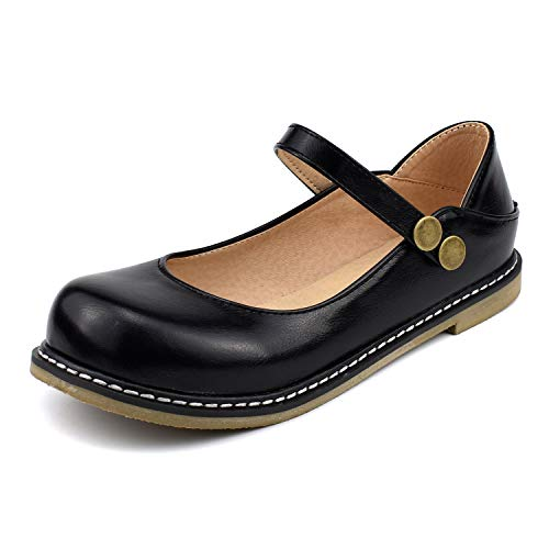 - 100FIXEO Women Buckle Ankle Strap Mary Jane Flat Shoes (9 (B) M US, Black)