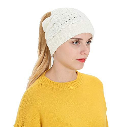 URIBAKE ❤ Women's Knitted Beanies Baggy Ponytail Warm Hat Stretch Wool Crochet Tail Hats Earmuffs Hat