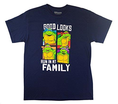Teenage Mutant Ninja Turtle Good Looks Run in My Family Adult/Unisex Tshirt (X-Large, Navy)]()