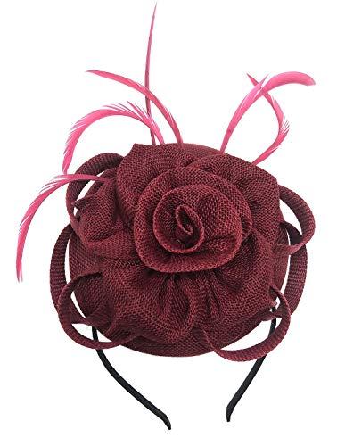 Biruil Fascinator Pillbox Hat for Women Feather Wedding Party Derby Royal Banquet Headwear (Burgundy)