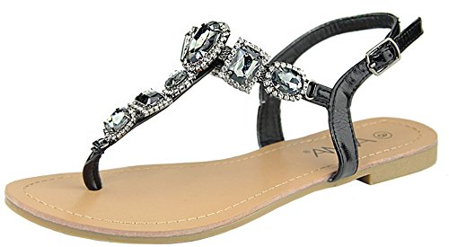 Anna Shoes Women's Jeweled Rhinestone T- - Ladies Jeweled Thong Sandal Shopping Results