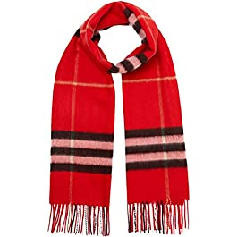 Burberry Iconic Giant Bright Military Red Check Cashmere Scarf 4078143
