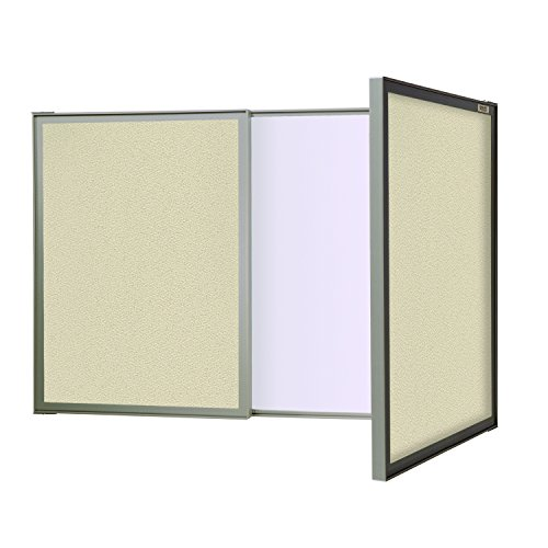 Ghent VisuALL PC, Beige Fabric Bulletin Board Outside with Acrylate Whiteboard Inside, Made in the USA ()