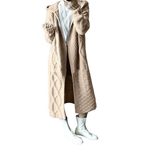 Sunhusing Autumn Winter Women's Hooded Thick Knit Cardigan Long Trench Coat Twist Pattern Sweater Coat Outwear Khaki
