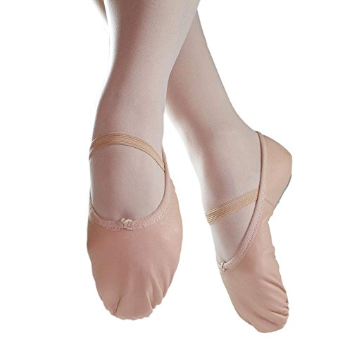 Danzcue Adult Full Sole Leather Pink Ballet Slipper 6.5 M US
