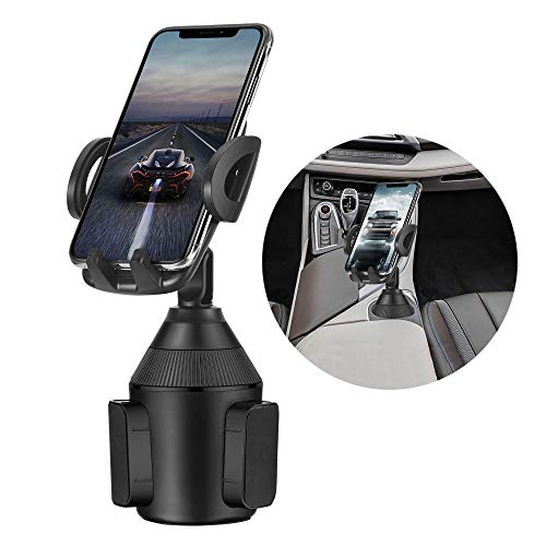 MARRRCH Cup Holder Phone Mount,Universal Adjustable Cup Holder Cradle Car Mount Compatible with iPhone Xs/XS MAX/XR/X/8/8Plus/7,GalaxyS9/S10/S10e,Google Nexus,Huawei and More (Black)