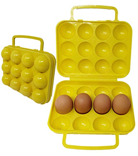 (Portable Egg Case Carrier | Container Holder Tray with Handle & Lid 12 eggs tray)