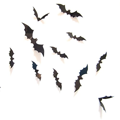 Bigban 12pcs Black 3D DIY PVC Bat Wall Sticker Decal Home Halloween (Halloween Vine Bats)