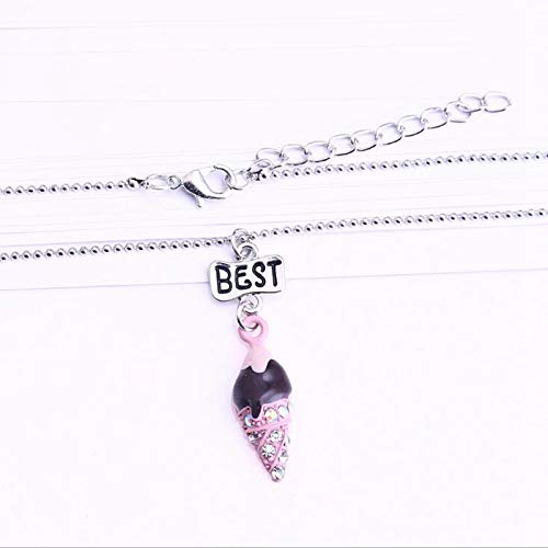 CliPons Cute Blue Ice Cream CZ Pendant Princess Necklaces Best Friends Jewelry Set for Girls