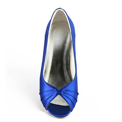 Elegantpark Femmes Pompes À Talons Hauts Peep Toe Satin Soirées De Bal Mariage Wedges Bleu
