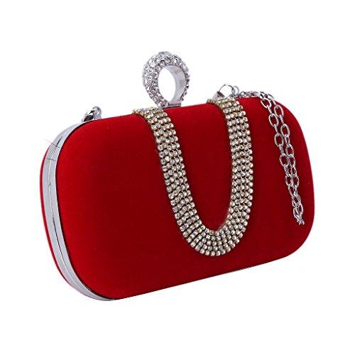 Bridal Blue Wedding Bag Red Handbag Banquet Royal Clutch Elegant Party JAGENIE Evening Women Glitter UqXp8