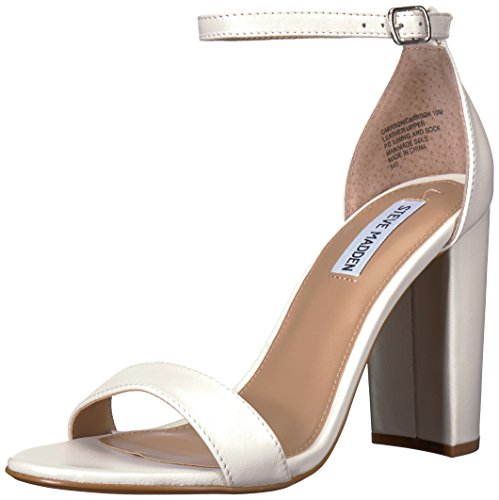 Steve Madden Women's Carrson Dress Sandal, White Leather, 7 M US