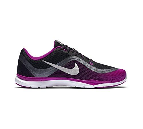 Nike W Flex Trainer 6 Print, Zapatillas de Gimnasia para Mujer Negro (Blk / Mtllc Slvr-Hypr Vlt-Mtlc H)