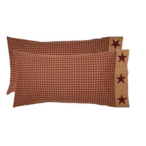 Border Bedding - VHC Brands Primitive Bedding Cody Burgundy Border Cotton Appliqued Star King Pillow Case Set of 2 Red